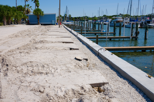 Florida Marine Contractor finishing Seawall and Dock Construction Project