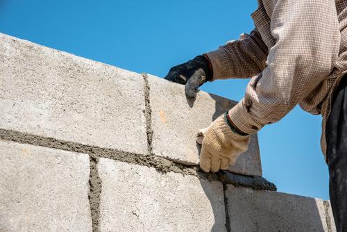 Lee County masonry contractor constructing walls