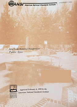 American National Standard for Public Spas, 1999 ANSI/APSP-2