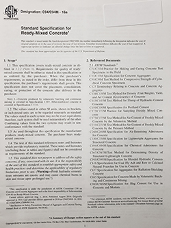 Standard Specification for Ready-Mixed Concrete ASTM C94
