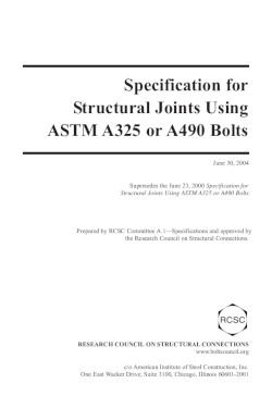 specification for structural joints using astm a325 or a490 bolts